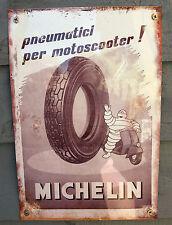 Vintage Retro Estilo Vespa Neumáticos Michelin Tamaño Medio Metal Estaño Firmar italiano