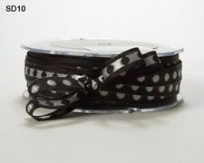 MAY ARTS~SOLID WITH CENTER WHITE DOT RIBBON~BLACK~3/8TH INCH X 3 YARDS!