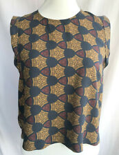 Size 8 S Black Printed Top Brown Yellow Sleeveless Blouse Sptted Geometric Print
