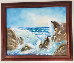 Vintage Oil Painting Ocean Waves ART Signed by North Texas Artist 23x19.5 Inch