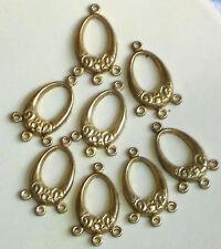 #1404 Vintage Drops Oval Art Nouveau Dangle Brass Chandelier Earring Findings