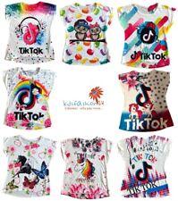 Mädchen Kinder T-Shirt Tik Tok Einhorn Pferde Schmetterling Top Shirt 4-14 Jahre