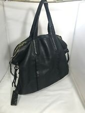 Or Yanny Black Leather Tote Large