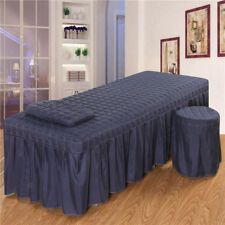 "SPA Massage Bed Linen Set Table Skirt Pillowcase Stool Cover 73x28"" Blue_2"