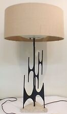 VINTAGE MAURIZIO TEMPESTINI ATOMIC-AGE METAL TABLE LAMP ON TRIANGULAR STONE BASE