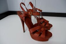 YSL Yves Saint Laurent Tribute Tan Leather Shoes Size 39.5 Uk 6.5 Heels Sandals