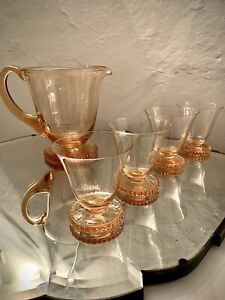 1950s Hand Blown Peach Amber Glass Punch / Water Set, 4 Glasses & Jug