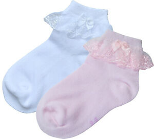 2 Pair BePe Baby Little Girl Toddler Baby Lace Ruffle Socks - Pink or White