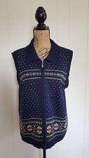 Cabin Creek Womens Large Sweater Zip-Up Vest Sleeveless Blue Fair Isle Nordic