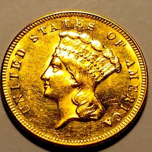 1874 $3.00 Indian Princess Gold Piece * Choice BU * Nice Mint luster