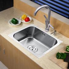 Single 1.0 Bowl Stainless Steel Kitchen Sink  with Taps & Waste Plumbing Kit