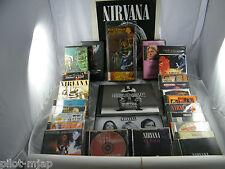 HUGE LOT ~ NIRVANA / KURT COBAIN ~ FIGURE, BOOK, 4 DVD, 3 VHS, 17 CDS & 3 POSTER