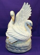 Vintage House Of Global Art Music Box Pair Of Swans Swimming Plays Swan Lake