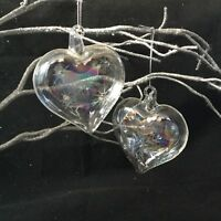 2 X Glass Heart Christmas Tree Decoration Bauble Iridescent Rainbow Soap Vintage