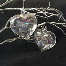 2 x vetro cuore albero di Natale decorazione pallina iridescente ARCOBALENO sapone VINTAGE