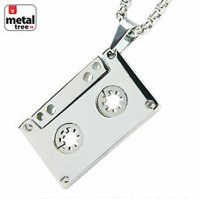 "Solid Stainless Steel Cassette Tape Pendant 24"" 3mm Box Necklace SCP 188 S"