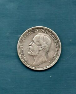 SWEDEN - 1893  TWO KRONOR  - VERY SCARCE AND NICE