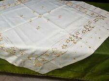 Embroidered Christmas Runner Linen Tablecloth Lace New Year / Christmas decor