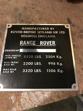 Range Rover Suffix D to F VIN Plate repro! Superb quality