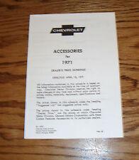 1971 Chevrolet Car & Truck Accessories Price List Brochure 71 Chevy