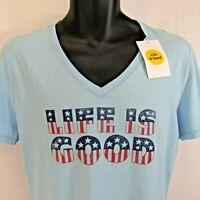 Life is Good Patriotic T-Shirt Women's Size M Light Blue Medium V-Neck NEW NWT