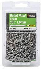 Paslode BULLET HEAD NAILS 30x1.6mm 970 Pcs Bright Steel & Plain Shank Aust Brand