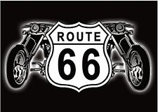 Route 66 Shield and Motorbikes steel fridge magnet (sf)