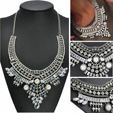 STUNNING GLAMOROUS HUGE FACETD SWAROVSKI CRYSTAL PEARL SILVER STATEMENT NECKLACE