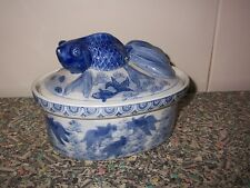 Rare~Porcelain Lidded Asian Fantail Goldfish Casserole Tureen~Flow Blue~Baker