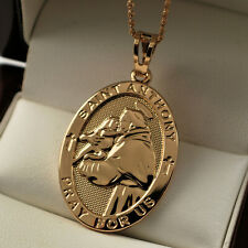 """18ct Gold Filled St Anthony Pray For Us Pendant 17"""" Chain Necklace UK -N17"""