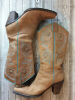 Franco Sarto Women 6.5 M Boots Western Cowboy Heels Tan Blue Embroidered Leather