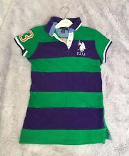US Polo Assn Ladies Tshirt Top Green Purple Designer Size XS Small UK 6