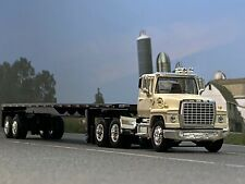 1/64 DCP WHITE FORD LN 9000 W/ UTILITY FLATBED