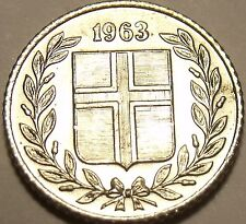 Brilliant Unc Iceland 1963 10 Aurar~We Have Iceland Coins~Free Shipping