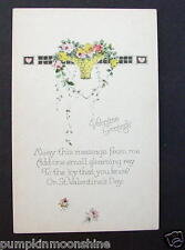 #G617- Unused Gibson Art Deco Valentine's Greeting Post card Stunning Flowers