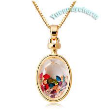 Made in Korea 18K Rose Gold Plated Oval Locket necklace Floating memory crystals