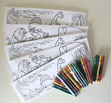 Set Of 5 Dinosaur And Zoo Color Me Paper Soda Jerk Hats With Crayons