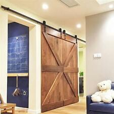 12FT Black Bypass Country Sliding Barn Double Wood Door Hardware Closet Kit US R