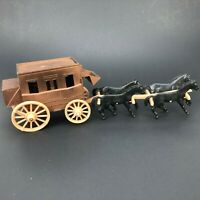"""Vintage Plastic Plastic Toy Stagecoach Western Playset Horse Wild West 11""""Lx 3""""T"""