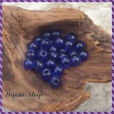 50 Perles de verre 8 mm Bleu Nuit