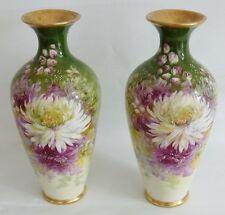 Paire De Vases En Porcelaine, Décor Aux Fleurs De Dalhia, Limoges, Fin XIX ème