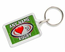 Personalised Loves Rugby Keyring Ideal Birthday Gift AK187