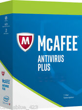 New Intel McAfee AntiVirus Plus 2017,3PCs Activation Key Card, Download