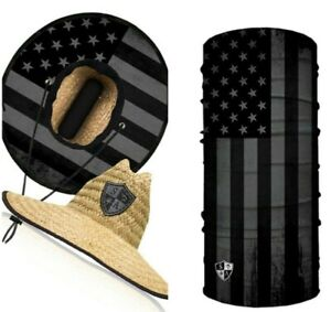 SALT ARMOUR **COMBO** BLACKOUT AMERICAN FLAG Under Brim STRAW HAT and FACE MASK