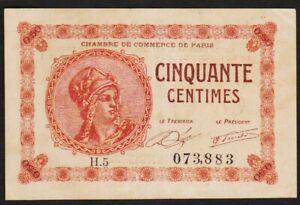 50 CENTIMES 1920 PARIS / FRANCE - Billet de nécessité - chambre de commerce H.5
