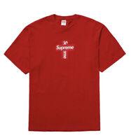 Supreme Cross Box Logo Tee Red Medium FW20 - DS BRAND NEW In Original Packaging