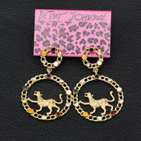 Betsey Johnson Enamel Crystal Leopard Round Dangle Earbob Women's Earrings Gift