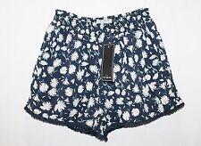 COTTON ON Designer Blue Daisy Print Fringe Shorts Size XS BNWT #TC04
