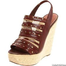 STEVE MADDEN ~ New! NIB 8.5 ~ $169 COGNAC LEATHER Bohemian Breannaa Wedge Sandal