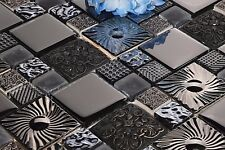 1 SQ M Black and Silver Patterned Glass and Steel Mosaic Tile Sheet (MT0149)